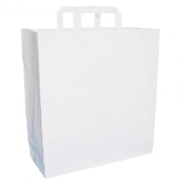 Бумажный пакет белый с плоской ручкой 32х18х32