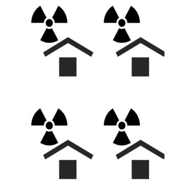 Наклейка «Беречь от радиации», 4 шт.